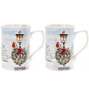 Set Of 2 Fine China Mugs Colourful Winter Scene With  Robins