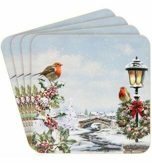 Set Of 4 Coasters With Brightly Coloured Snow Scene With Robins
