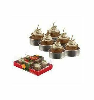 Set Of 6 Tea Light Candles- Mince Pie Design
