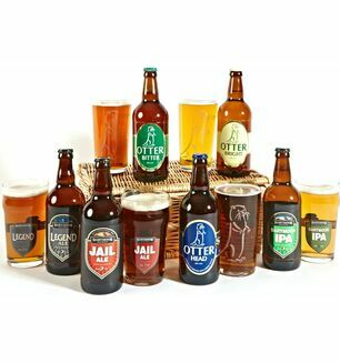 Six Devon Ales with Six Ale Glasses