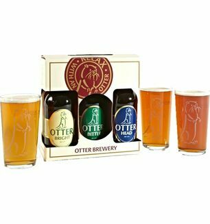 Otter Brewery Ale & Bitter Gift Pack -Plus 3 Otter Pint Glasses
