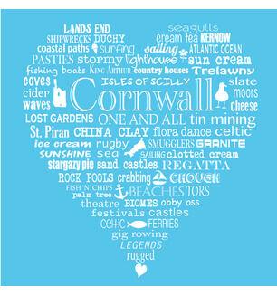 The Cornish Heart Tea Towel Blue