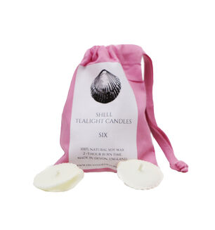 Sea Shell Candles in Pink Drawstring Bag