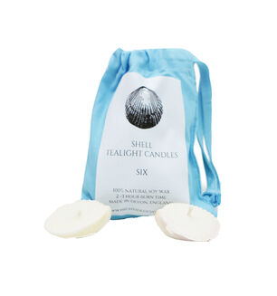 Sea Shell Candles in Light Blue Drawstring Bag