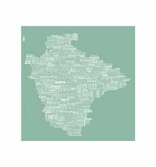 The Devon Map Tea Towel in Sea Swell Green