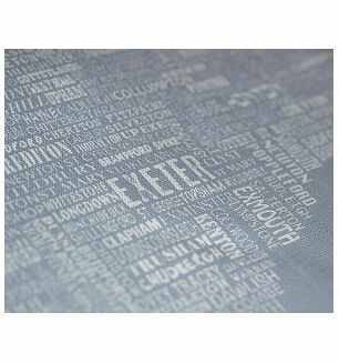 The Devon Map Tea Towel in Grey