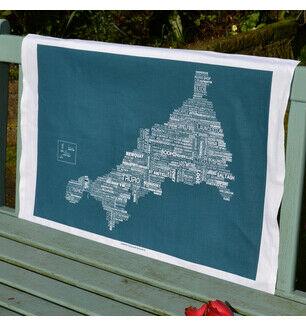The Cornish Map Tea Towel Sea Swell Green