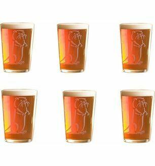 Set of Six Half Pint Otter Ale Glasses