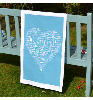 The Cornish Heart Tea Towel Blue