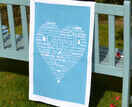 The Cornish Heart Tea Towel Blue additional 1