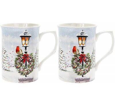 Set Of 2 Fine China Mugs Colourful Winter Scene With  Robins