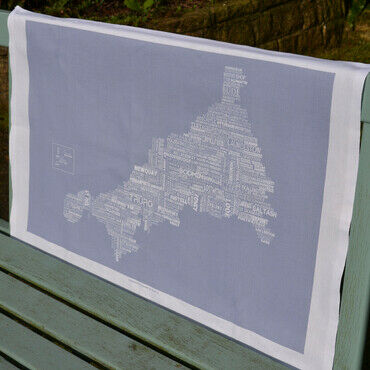 The Cornish Map Tea Towel Grey