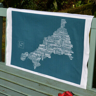 The Cornish Map Tea Towel Sea Swell Green