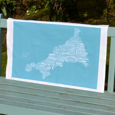 The Cornish Map Tea Towel Blue